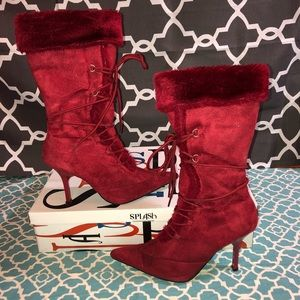 Red fur boots size 8